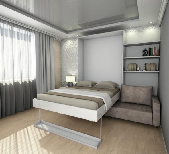 Transformateur de lit armoire gris