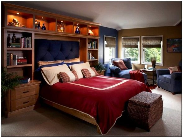 Photo du design lumineux des étagères dans la chambre