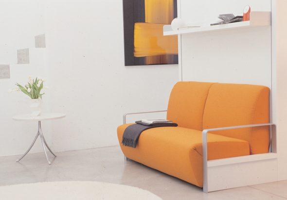 canapé-lit transformateur couleur orange