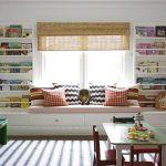 Ontwerp kinderkabinetten aan beide zijden van het raam