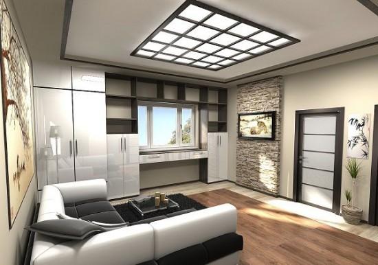 De kast rond het raam in de kamer speelt de rol van een kleedkamer en een kast.