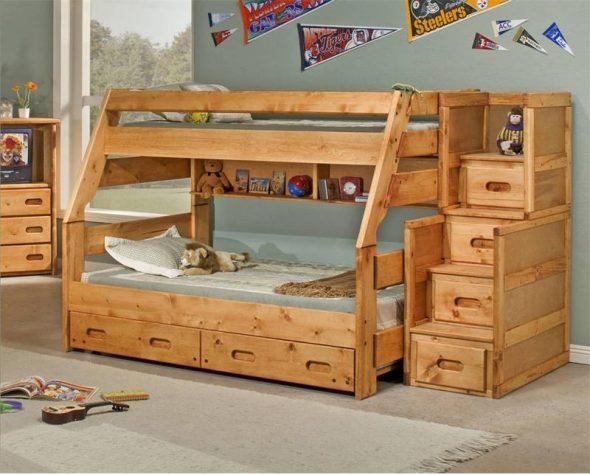 lit superposé avec tiroirs
