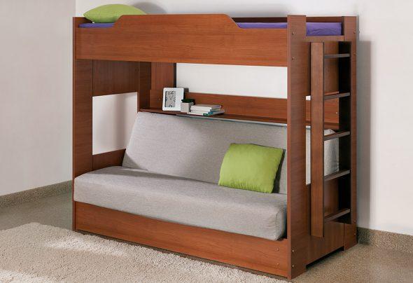 lit superposé avec canapé