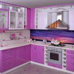 set de cuisine blanc-violet