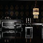 Mobilier art-déco argent-noir dans la salle à manger