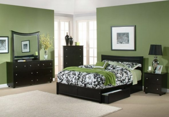 Chambre au design de mobilier noir