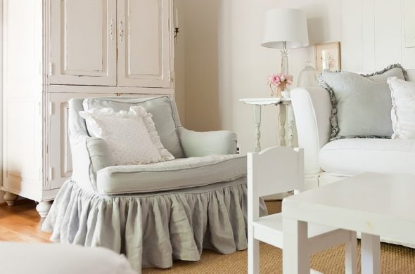 Shebby chic housse de chaise