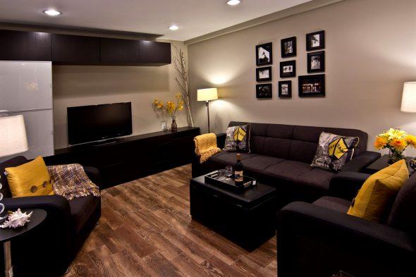 meubles noirs avec des accents lumineux
