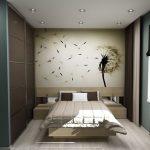 Wanddecoratie boven het bed op de slaapkamerfoto