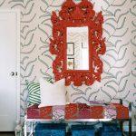 miroir dans cadre rouge