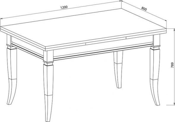 hauteur de la table rectangulaire