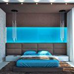 muur decor in de slaapkamer boven het bed is modern