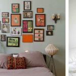 een collage van foto's aan het hoofdeinde van het bed
