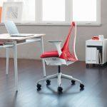 bureaustoel wit rood