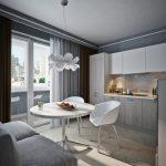 keuken met grijze bank