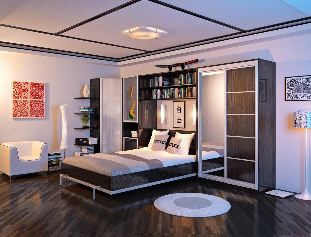 lit élévateur avec étagères