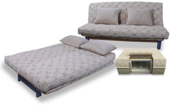 Canapé-lit avec matelas orthopédique au lieu d'oreillers
