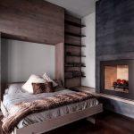 lit photo de chambre en bois