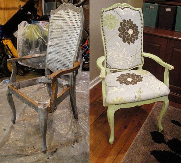 Restauration de rembourrage de vieilles chaises