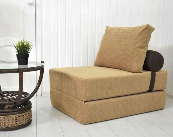 fauteuil-lit beige