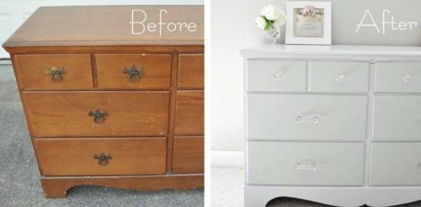 restauration de la commode avant et après