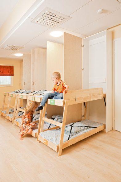 lit superposé rabattable pour la maternelle