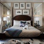 chambre à coucher avec un design intérieur miroir