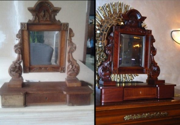 Restauration du miroir, avant et après