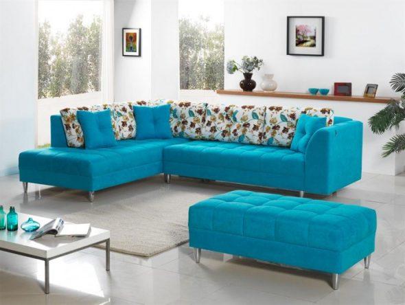 sofa góc màu ngọc lam