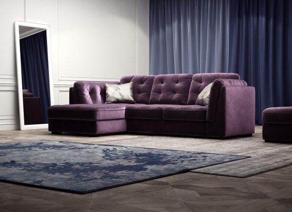 sofa góc màu tím