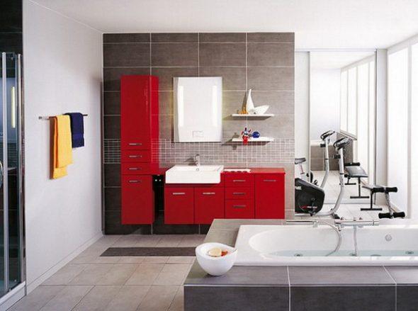 armoire de toilette rouge