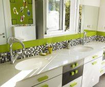 armoire de toilette blanc-vert