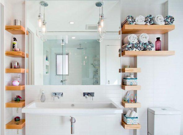 Fabrication et installation d'étagères dans la salle de bain avec leurs propres mains
