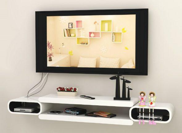 valkoinen TV-hylly