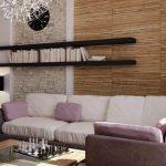 saranoitujen hyllyjen muotoilu sohvan yläpuolelle
