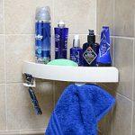 étagère d'angle dans la salle de bain avec ventouses