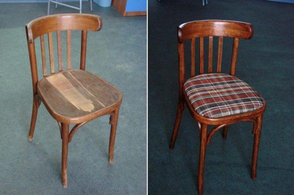 Avant et après la restauration de la chaise