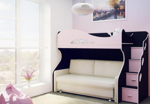 Lits superposés avec un canapé en bas