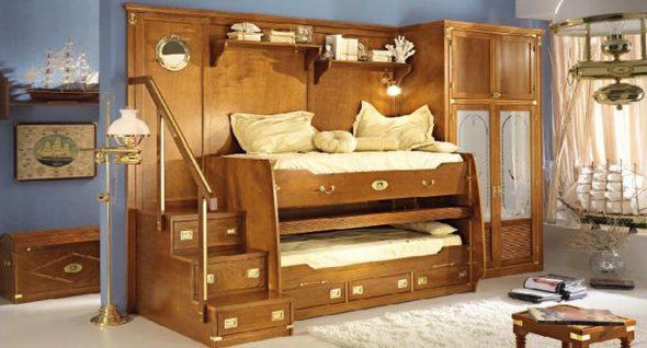 Photo d'un lit superposé rétractable pour un garçon