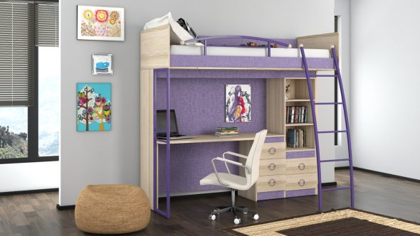 Lit mezzanine avec espace de travail