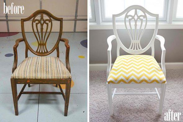 chaise en bois avant et après retravail