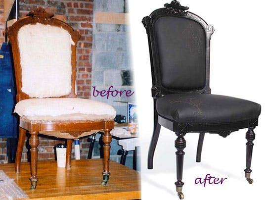 chaise en bois avant et après restauration
