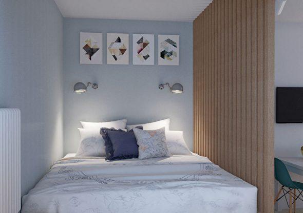 Conception d'une petite chambre dans le style du minimalisme