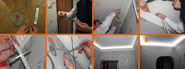 Les principales étapes de l'installation de la bande LED