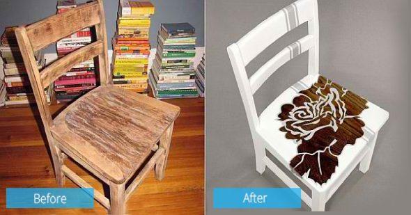 chaise lo et après restauration