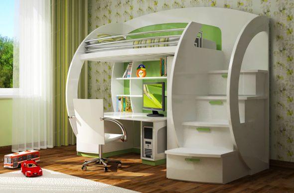 Lit mezzanine blanc avec espace de travail