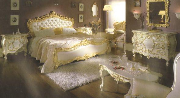 Mobilier de chambre à coucher décor blanc et doré