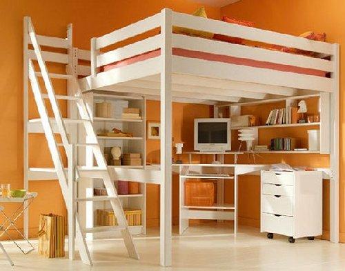 Lit mezzanine en bois blanc