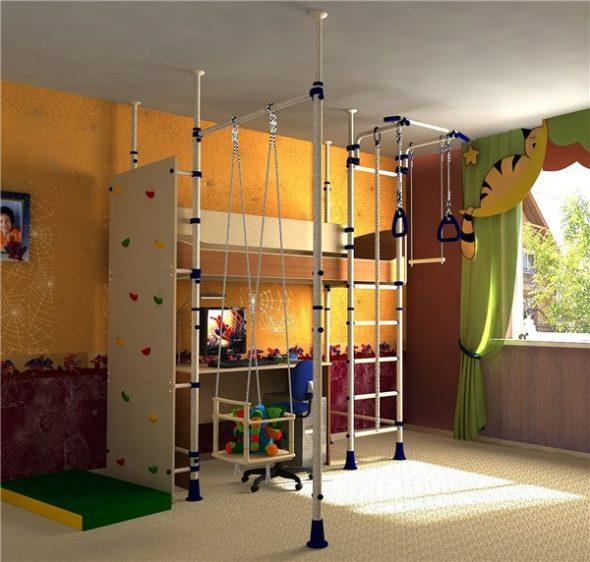 Lit mezzanine pour enfants avec coin sport