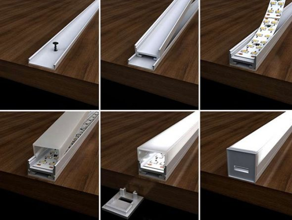 Ruban à diode en profilé d'aluminium